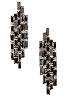 Rose Gold Finish Black Baguettes Earrings by Nepra By Neha Goel
