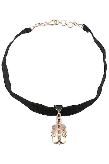 Rose Gold Finish Guitar Motif Choker Necklace by Nepra By Neha Goel