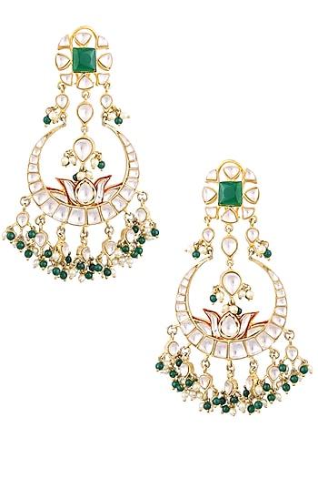 Gold Finish Kundan and Emerald Stones Crescent Shaped Earrings by Nepra By Neha Goel