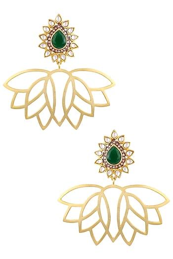 Gold Finish Lotus Drop Earrings by Nepra By Neha Goel