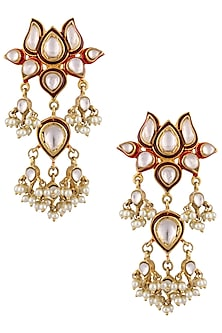 Gold Finish Kundan Stone and Pearls Flower Earrings by Nepra By Neha Goel