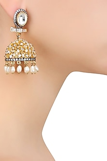 Gold Finish Kundan Stone Flower Jhumki Earrings by Nepra By Neha Goel