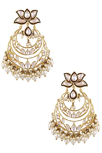 Gold Finish Kundan Stones and Pearls Crescent Shaped Earrings by Nepra By Neha Goel