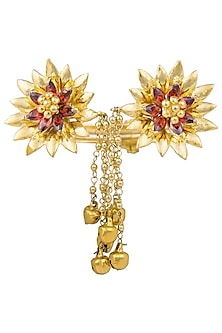 Gold Plated Ruby Floral Handcuff by Nepra By Neha Goel
