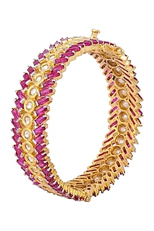 Gold Plated Ruby and Uncut Kundan Handcuff by Nepra By Neha Goel