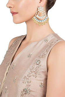 Gold Plated Kundan Cresent Earrings by Nepra By Neha Goel