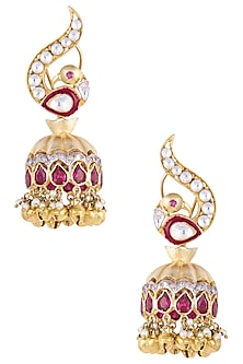 Gold Plated Peacock Motif Jhumki Earrings by Nepra By Neha Goel
