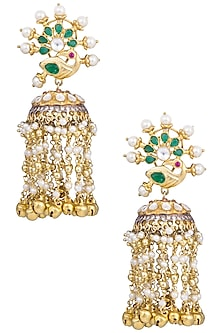 Gold Plated Kundan and Emerald Stone Jhumki Earrings by Nepra By Neha Goel