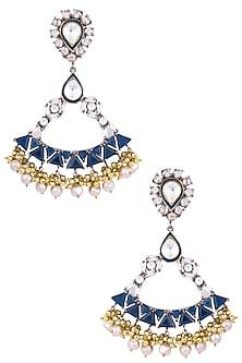 Gold Plated Kundan and Polki Earrings by Nepra By Neha Goel