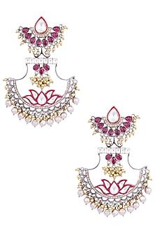 Gold Plated Kundan and Lotus Enamel Earrings by Nepra By Neha Goel