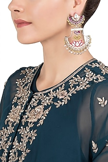 Gold Plated Kundan and Lotus Enamel Earrings by Nepra By Neha Goel