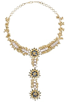 Gold Plated Baguettes and Ghungroo Floral Necklace by Nepra By Neha Goel