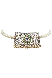 Gold Plated Kundan and Pearls Choker Necklace by Nepra By Neha Goel
