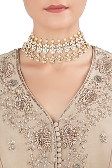 Gold Plated Pearls and Kundan Choker Necklace by Nepra By Neha Goel