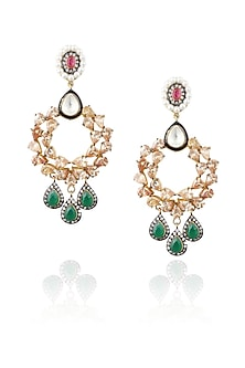 Gold plated kundan and emerald stone pear chandbali earrings by Nepra By Neha Goel