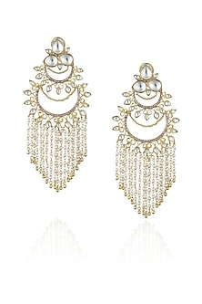 Gold plated kundan and pearl filigree chandbali earrings by Nepra By Neha Goel