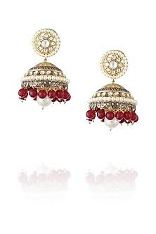 Gold plated kundan and ruby jhumki earrings by Nepra By Neha Goel