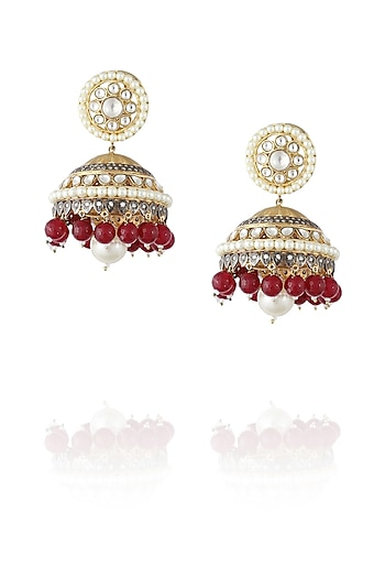 Gold plated kundan and ruby jhumki earrings by Nepra By Neha Goel