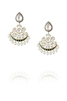 Gold plated kundan jali mughal earrings by Nepra By Neha Goel