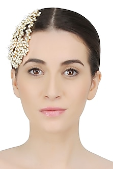 Gold Plated Pearl And Kundan Foliage Passa/ Headpiece by Nepra by Neha Goel