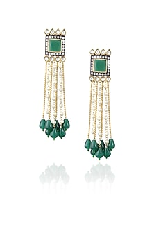 Gold plated kundan and emerald waterfall earrings by Nepra By Neha Goel