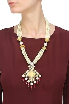 Gold Plated Kundan And Ruby Drops Multiple String Neckpiece by Nepra by Neha Goel