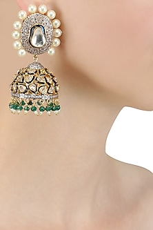 Gold Finish Kundan and Pearl Jhumki Earrings by Nepra By Neha Goel