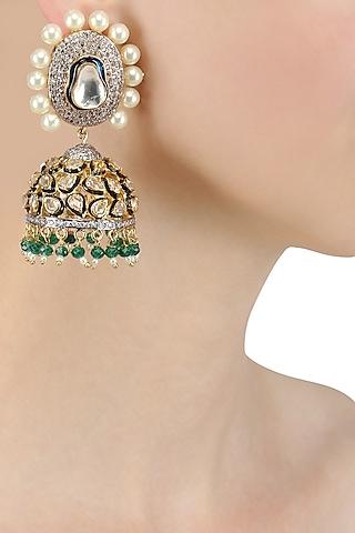 Gold Finish Kundan and Pearl Jhumki Earrings by Nepra By Neha Goel