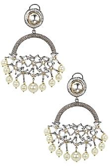 Gold Finish Zircons and Kundan Stones Semi Circle Earrings by Nepra By Neha Goel
