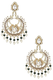 Gold Finish Kundan Baguettes Chandbali Earrings by Nepra By Neha Goel