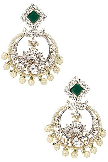 Gold Finish Kundan and Emerald Stone Chandbali Earrings by Nepra By Neha Goel