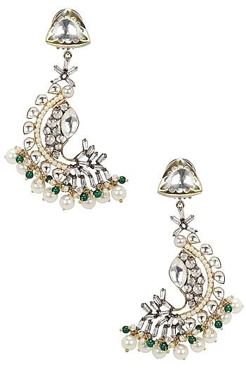 Gold Finish Kundan and Polkis Fish Shape Earrings by Nepra By Neha Goel