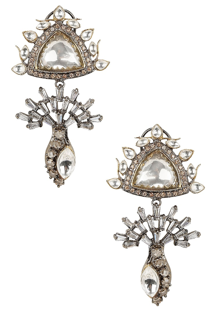 Gold Finish Filigree Earrings  by Nepra By Neha Goel