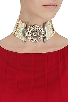 Multiple Pearl String Kundan and Polki Choker by Nepra By Neha Goel