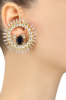 Gold Finish Mughal Style Contemporary Earrings by Nepra By Neha Goel