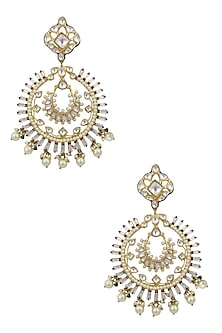 Gold Finish Jadau and Kundan Meenakari Work Statement Chandbali Earrings by Nepra By Neha Goel