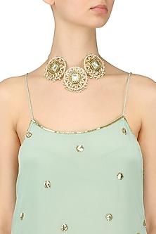 Gold Finish Jadau Kundan and Emerald Stones Choker Necklace by Nepra By Neha Goel