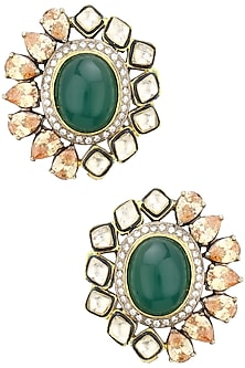 22K Gold Plated Kundan, Polkis and Emerald Studs by Nepra By Neha Goel