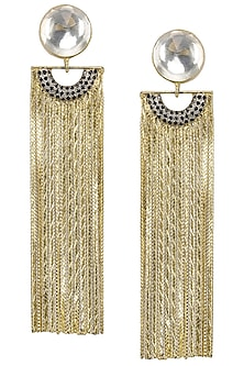Gold Plated Curved Chain Earrings by Nepra by Neha Goel