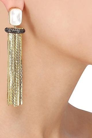 Gold Plated Chain Fringes Earrings by Nepra by Neha Goel