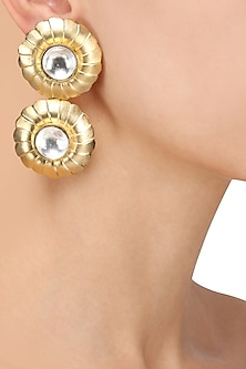 Gold Plated Stone Textured Flower Earrings by Nepra by Neha Goel