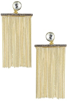 Gold Plated Kundan Stone Chain Fringes Earrings by Nepra by Neha Goel