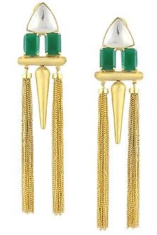Gold Plated Green Stone Tassel Earrings by Nepra by Neha Goel