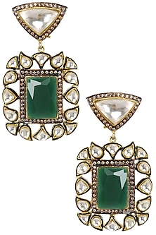 Gold Plated Kundan and Emerald Stone Earrings by Nepra by Neha Goel