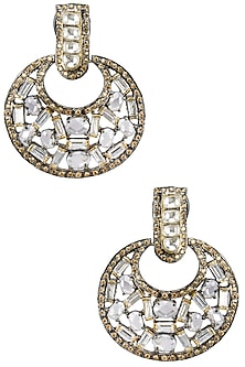 Gold Plated Baguettes and Champagne Stones Hoops by Nepra by Neha Goel