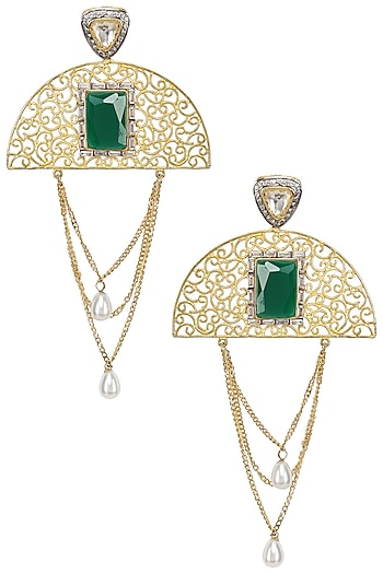 Gold Plated Zircon and Green Stone Semi Circle Earrings by Nepra by Neha Goel
