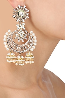 Antique Silver Finish Baguettes and Champagne Stones Jhumki Earrings by Nepra by Neha Goel
