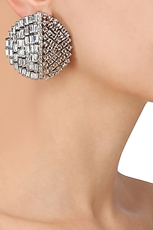 Silver Finish Baguettes and Champagne Stones Studs by Nepra by Neha Goel