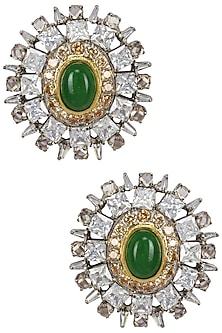 Gold Plated Emerald Stone and Baguettes Stud by Nepra by Neha Goel