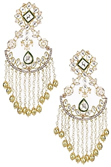 Gold Plated Kundan Stone and Pearl Chains Earrings by Nepra by Neha Goel